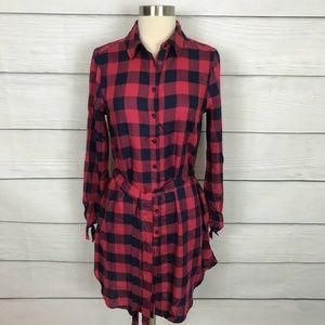 Draper James Red Buffalo Check Shirt Dress 4
